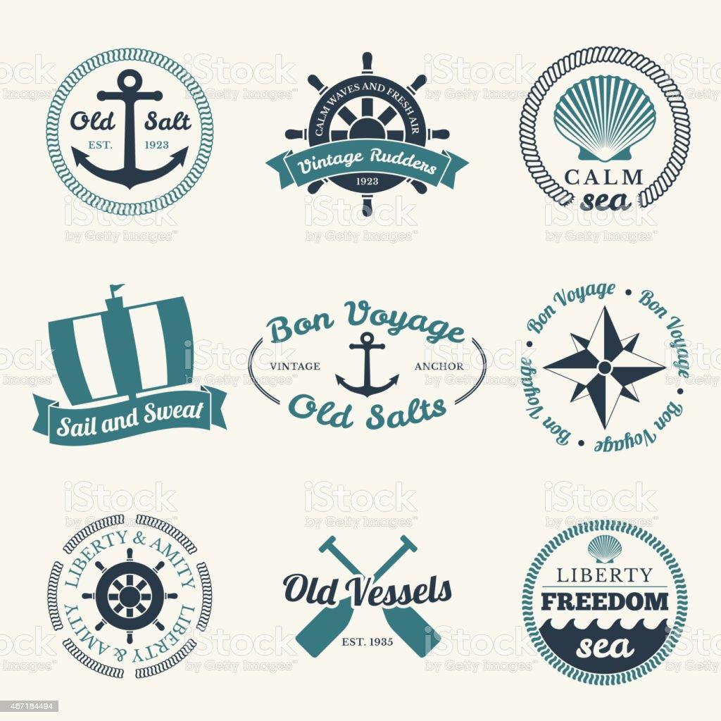 Nautical labels vector art illustration