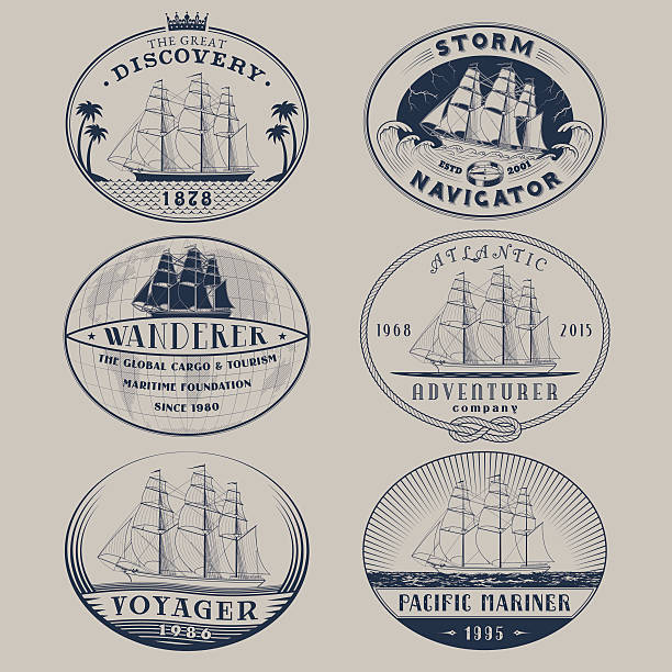 Nautical labels Set of nautical and maritime adventure vector labels.Logotype templates and badges with ships,waves and other design elements.Ocean and sea exploration,marine tourism and cargo transportation symbols pirate ship stock illustrations