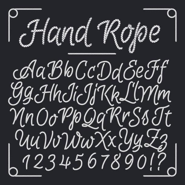 Nautical letters from hand rope. Vector thread alphabet Nautical letters from hand rope. Vector thread alphabet. Illustration of string abc, vintage sea alphabet design alphabet borders stock illustrations