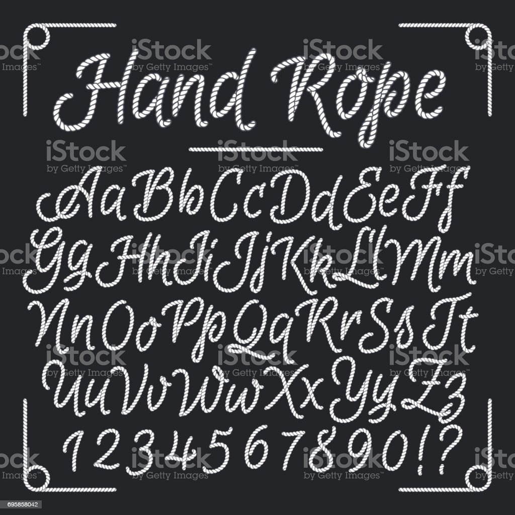 Nautical letters from hand rope. Vector thread alphabet vector art illustration