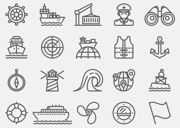 Nautical Line Icons vector art illustration