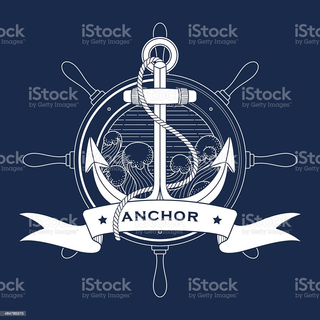 Nautical logo with a lighthouse and anchor vector art illustration