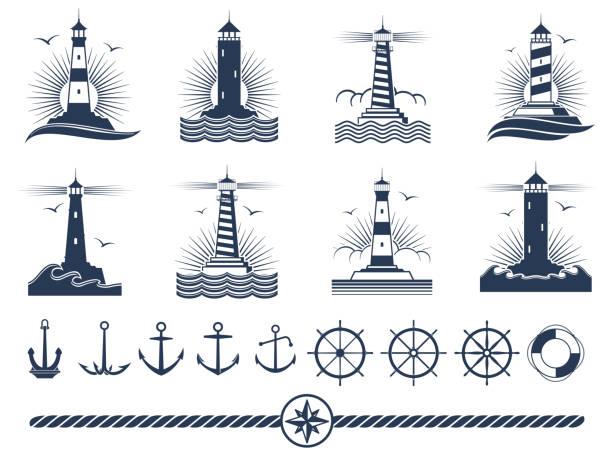 illustrations, cliparts, dessins animés et icônes de ensemble de logos et éléments nautique - ancres phares corde - phare