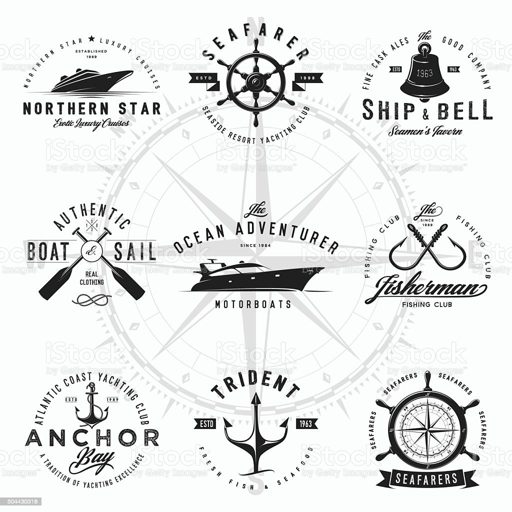 Nautical Logos vector art illustration