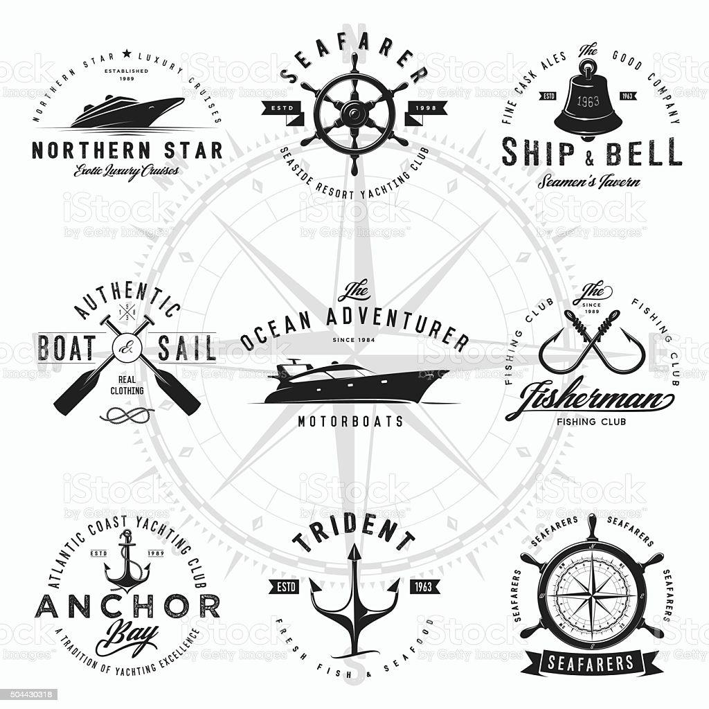 Logotipos náutico - ilustração de arte em vetor