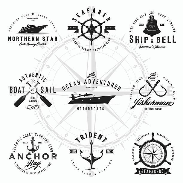 ilustraciones, imágenes clip art, dibujos animados e iconos de stock de náutica de logotipos - pesca