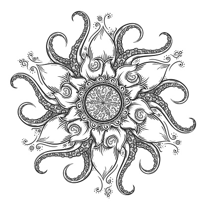Download Nautical Mandala With Octopus Tentacles And Floral ...