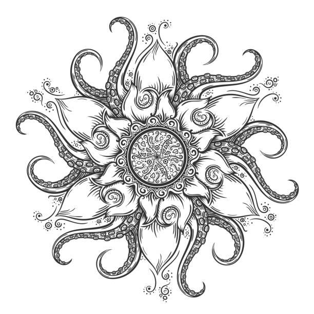 マリンの曼荼羅、タコ触覚と花の要素が決まります。 - マリンのタトゥー点のイラスト素材/クリップアート素材/マンガ素材/アイコン素材