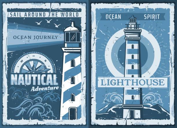 ilustrações de stock, clip art, desenhos animados e ícones de nautical marine lighthouse retro posters - sextante