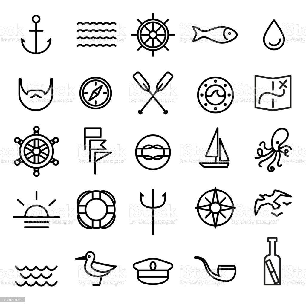 Nautical, marine line icons set vector art illustration