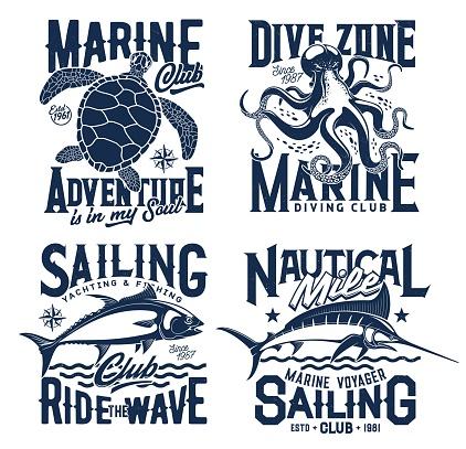Nautical marine t shirt prints, sea waves, turtle