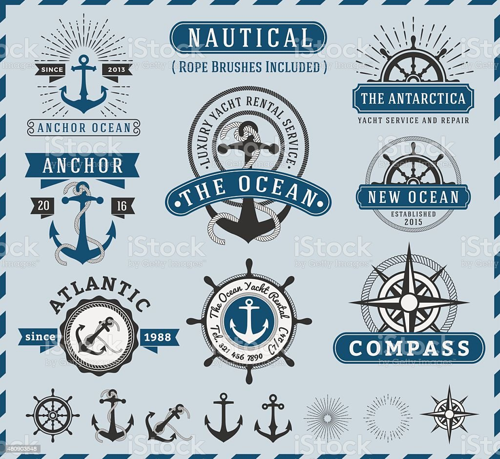 Nautical, Navigational, Seafaring and Marine label logo vintage design vector art illustration
