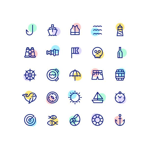 ilustrações de stock, clip art, desenhos animados e ícones de nautical outline icons - sextante