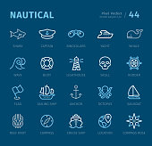 Nautical - 20 three-color outline icons with captions / Pixel Perfect Set #44 Icons are designed in 48x48pх square, outline stroke 2px.  First row of outline icons contains: Shark, Captain, Binoculars, Yacht, Whale;  Second row contains: Wave, Buoy, Lighthouse, Skull, Rudder;  Third row contains: Flag, Sailing ship, Anchor, Octopus, Sailboat;  Fourth row contains: Reef Knot, Compass, Cruise Ship, Location, Compass Rose.  Complete Captico icons collection - https://www.istockphoto.com/collaboration/boards/L98ewPMHpUStg1uF0pmcYg