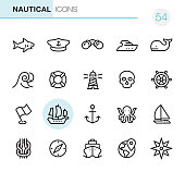 20 Outline Style - Black line - Pixel Perfect icons / Nautical Set #54 / Icons are designed in 48x48pх square, outline stroke 2px.  First row of outline icons contains:  Shark icon, Boat Captain Hat, Binoculars, Yacht, Whale;  Second row contains:  Wave, Buoy, Lighthouse, Skull, Rudder;  Third row contains:  Flag icon, Sailing Ship, Anchor-Vessel Part, Octopus, Sailboat;   Fourth row contains:  Reef Knot, Navigational Compass, Cruise Ship, World Map (Location), Compass Rose.  Complete Primico collection - https://www.istockphoto.com/collaboration/boards/NQPVdXl6m0W6Zy5mWYkSyw