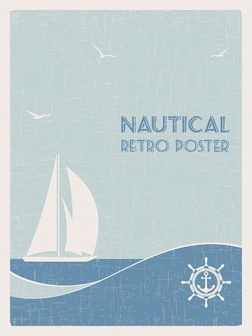 Nautical retro poster. 2