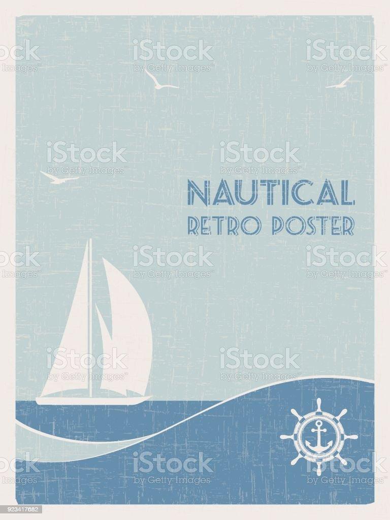 Affiche rétro nautique. 2 - Illustration vectorielle