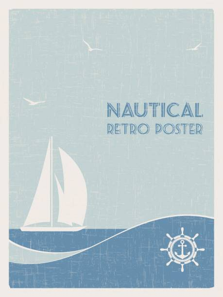 Nautical retro poster. 2 vector art illustration