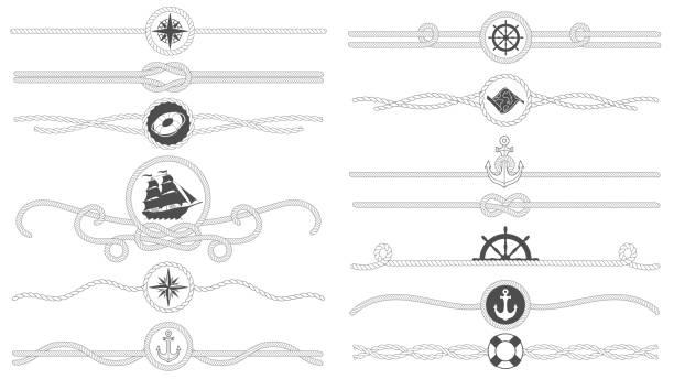 ilustrações, clipart, desenhos animados e ícones de fronteira de corda náutica. linha náutica amarrado cordas, mar navio ancorar divisor e retro decoração marinha fronteiras isolaram set vector - nó