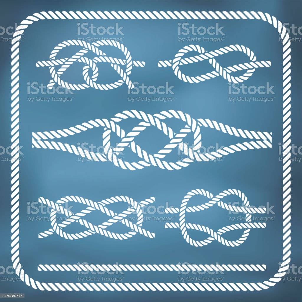 Nautical rope knotes vector art illustration