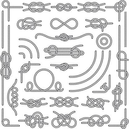 Nautical rope knots vector decorative vintage elements