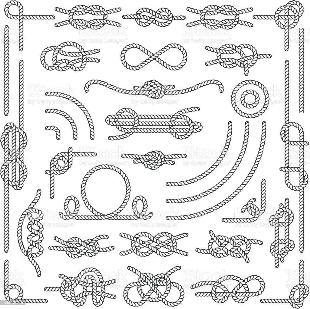 Nautical rope knots vector decorative vintage elements vector art illustration
