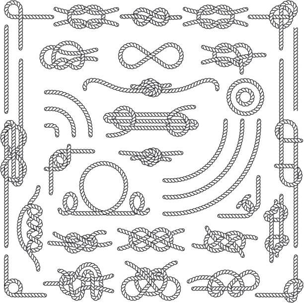 stockillustraties, clipart, cartoons en iconen met nautische touw knopen vector decoratieve vintage elementen - touw