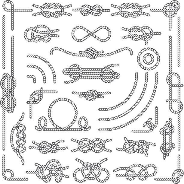nautical rope knots vector decorative vintage elements - boat stock illustrations