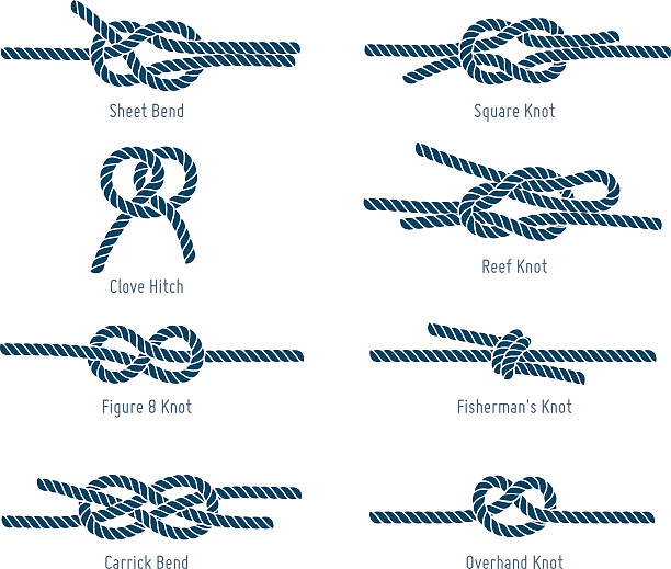 nautical rope knots - tie stock illustrations, clip art, cartoons, & icons