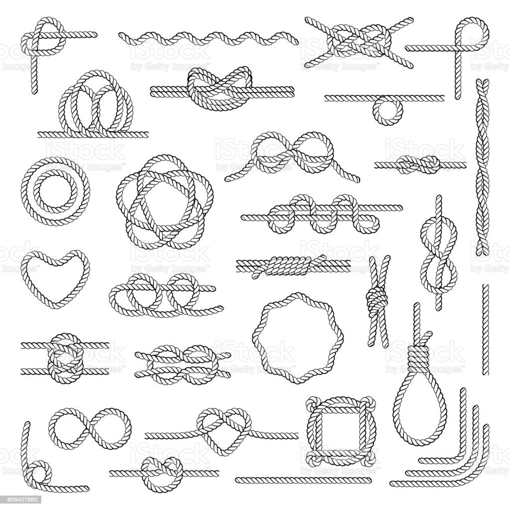 Set of marine rope, knots — Stock Vector © maritime_m ...