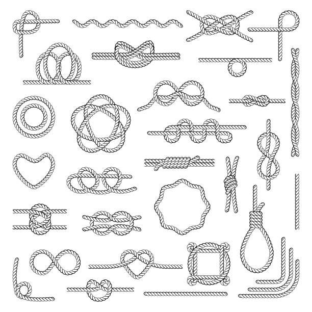 ilustrações, clipart, desenhos animados e ícones de nós de corda náutica - nó