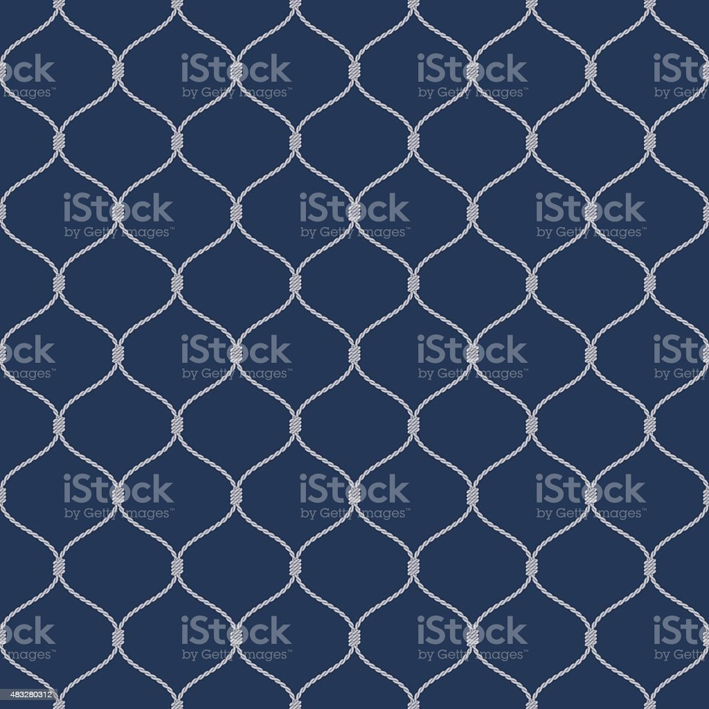 Nautical rope seamless fishnet pattern on dark blue background vector art illustration