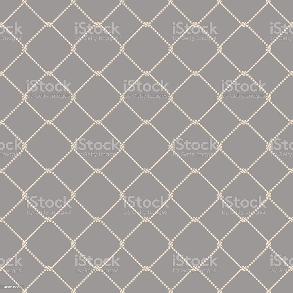 Nautical rope seamless fishnet pattern on gray background vector art illustration