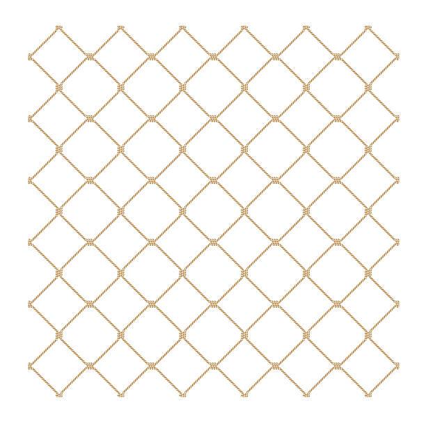 stockillustraties, clipart, cartoons en iconen met nautical rope seamless gold fishnet pattern on white background - gaas