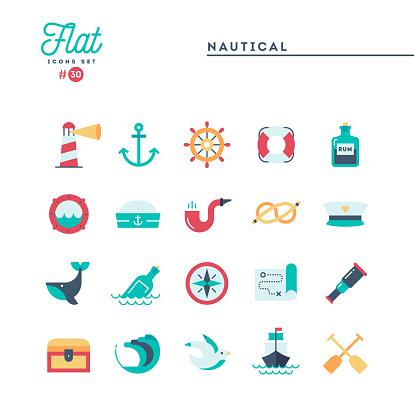 Nautical, sailing, sea animals, marine and more, flat icons set