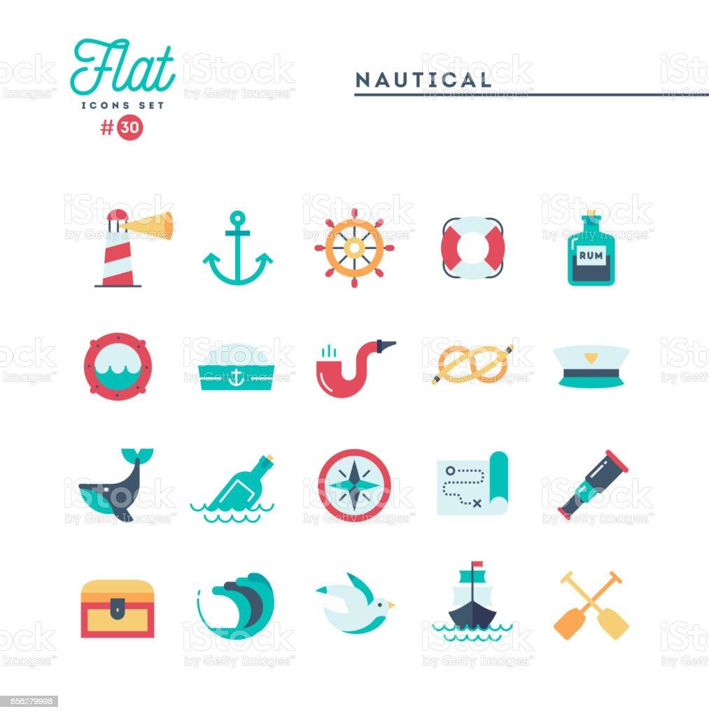 Nautical, sailing, sea animals, marine and more, flat icons set vector art illustration