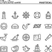 Nautical, sailing, sea animals, marine and more, thin line icons