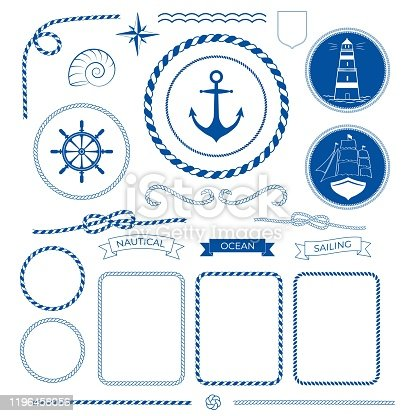 Rope frames, knots, corners and ribbons. Nautical sea collection, marine rope, boat, lighthouse logo, anchor, helm, compass icons Vector illustration decorative elements