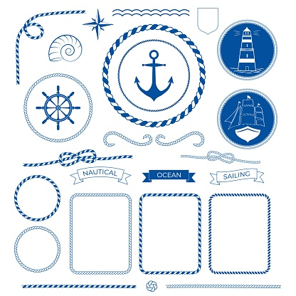 Nautical sea frame collection, marine rope, boat, lighthouse, anchot