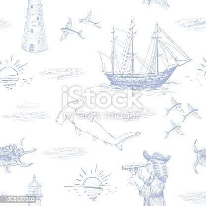 istock Nautical seamless pattern. Hand drawn blue vector illustration. 1305637303