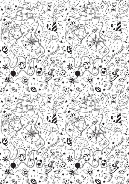 nautical seamless pattern in tattoo style - diamond tattoos stock illustrations, clip art, cartoons, & icons