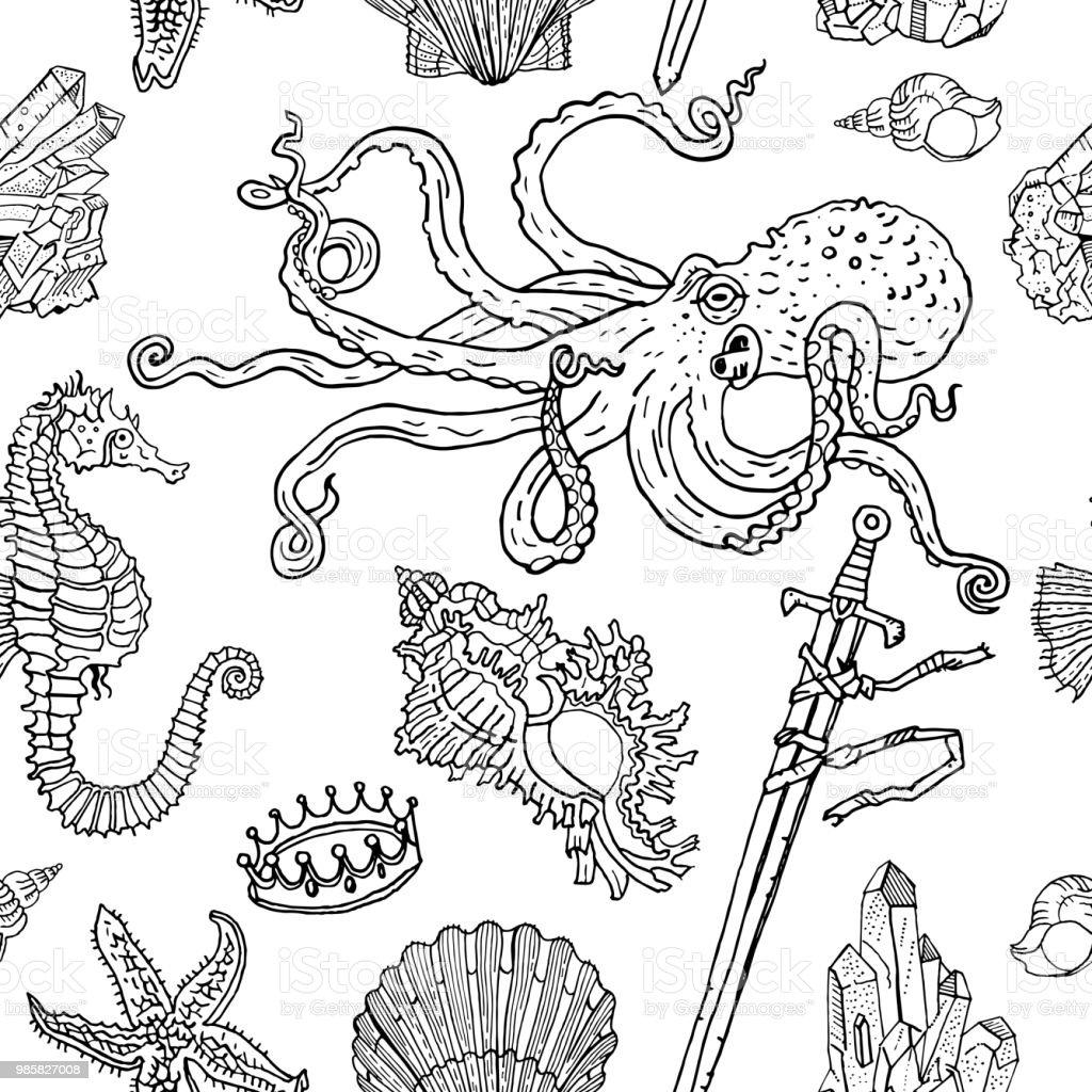 Deniz Seamless Modeli Ahtapot Deniz Hayvani Kabugu Deniz Yildizi