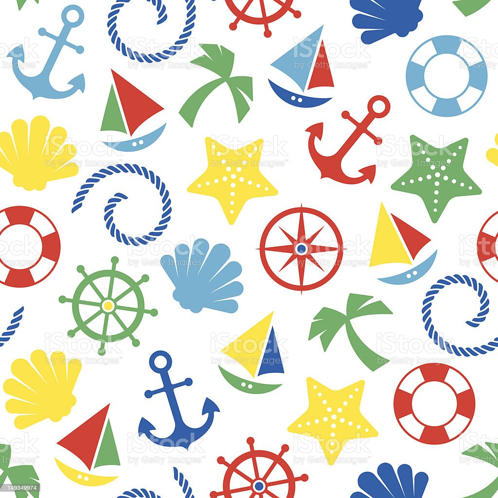 Nautical seamless pattern royalty-free nautical seamless pattern stock vector art & more images of anchor - vessel part