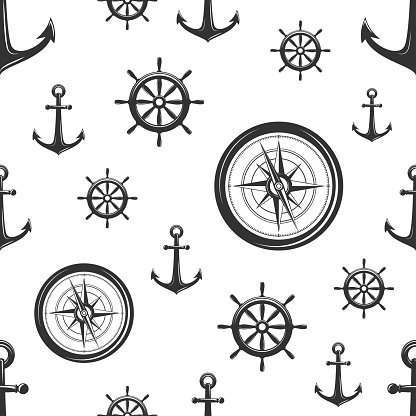 Nautical seamless pattern with black helms, anchors and compass on white.