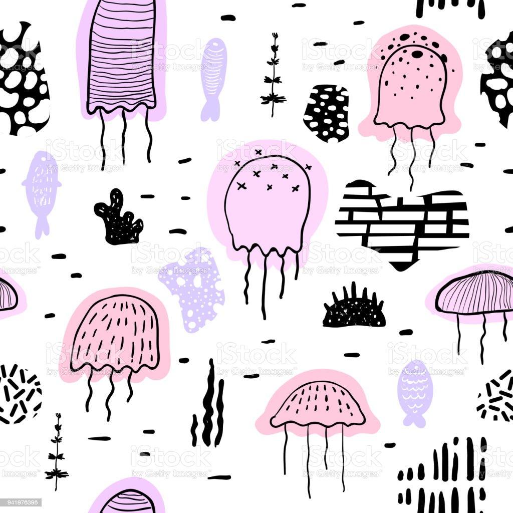 Ilustración de Náutico De Patrones Sin Fisuras Con Medusas En Estilo ...