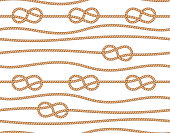 Nautical seamless pattern with ropes and marine knots