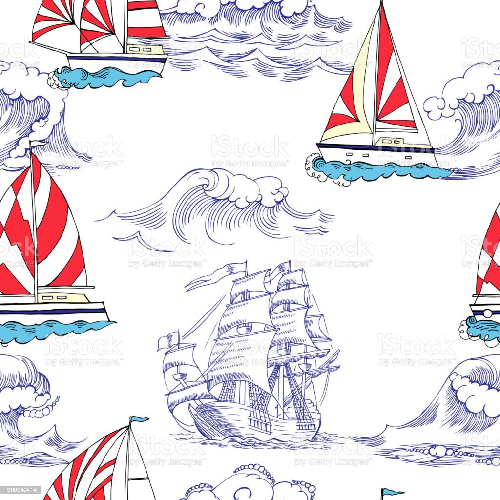 Nautical seamless pattern with sailing vesselsand - Royalty-free Anchor - Vessel Part stock vector