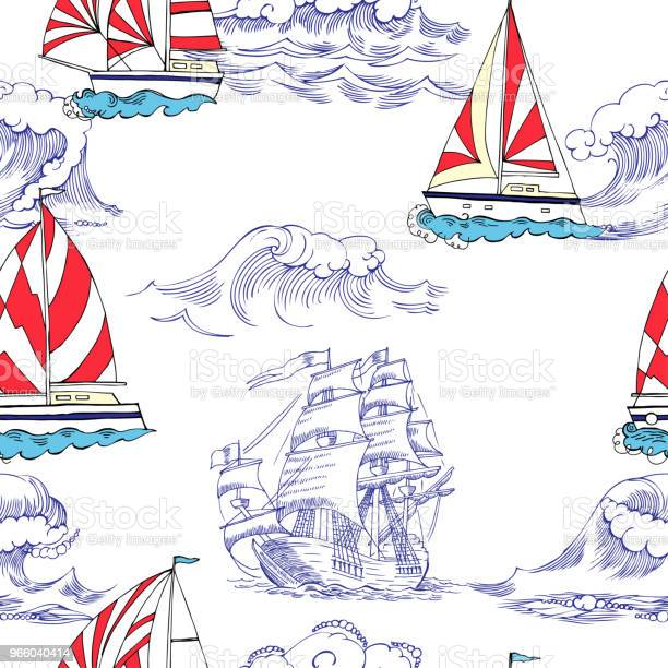 Nautical Seamless Pattern With Sailing Vesselsand Stock Illustration - Download Image Now
