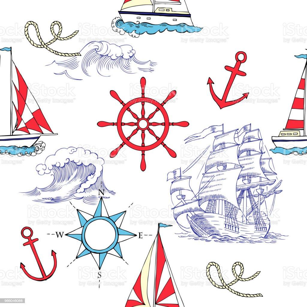 Nautische naadloze patroon met zeilen vesselsand - Royalty-free Achtergrond - Thema vectorkunst