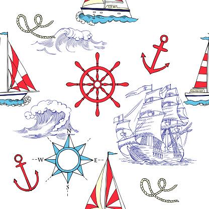 Nautische Naadloze Patroon Met Zeilen Vesselsand Stockvectorkunst en meer beelden van Achtergrond - Thema